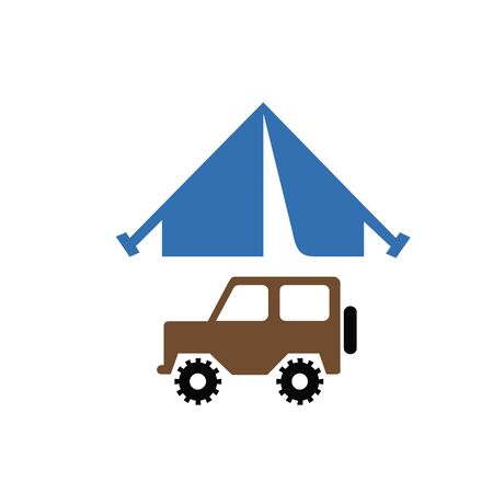 Portable camping tent icon in Metro user interface color style. Shelter vacation travel