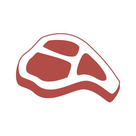 T-bone beef steak flat vector icon for food apps and websites