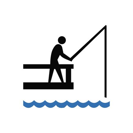 Silhouetted fisherman with a fishing rod vector illustration