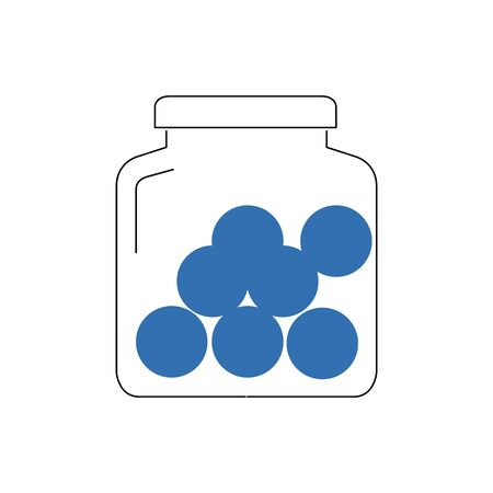 jar with blue balls on white background