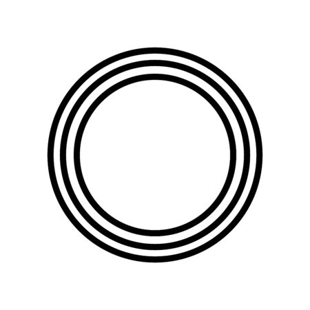 Concentric circles geometric element on white background
