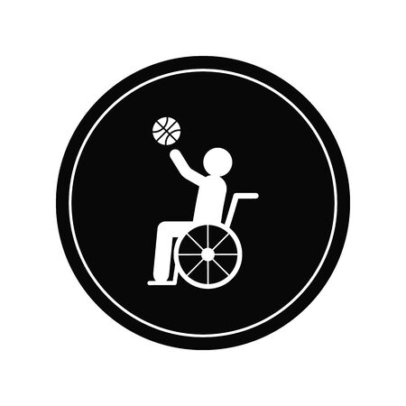 Wheelchair athlete playing basketball with layup flat vector icon for sports apps and websites