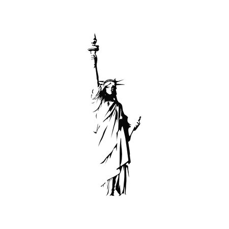 Statue of Liberty Sign isolated on white. Vector illustration