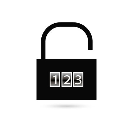 Binary combination padlock with zeroes and ones on turquoise blue. Lock, cyber security, data and privacy concept. Flat design.  vector illustration, no transparency, no gradients