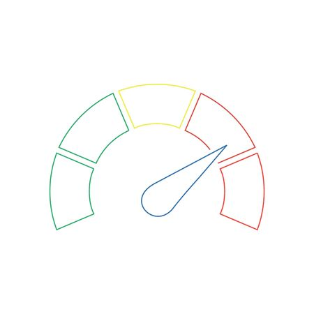 Speedometer or tachometer with arrow. Infographic gauge element. Template for download design. Colorful vector illustration in flat style.
