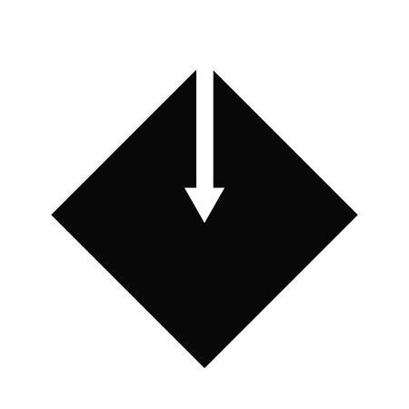Down arrow icon - vector web illustration. black square on white background. Illustration