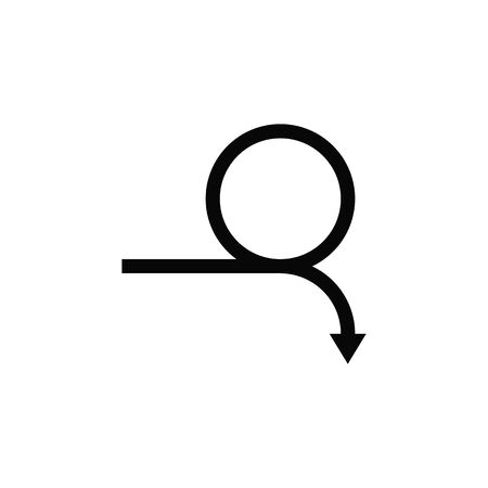 Curved arrow. Full rotation. 360 degrees. Refresh, repeat symbol. on white background