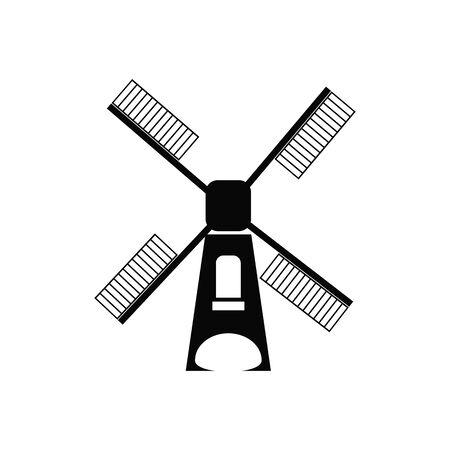 Windmill black line icon,Vector illustration. Illustration