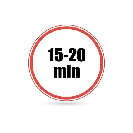 time interval from 15 to 20 minutes , vector illustration isolated on white background Illustration