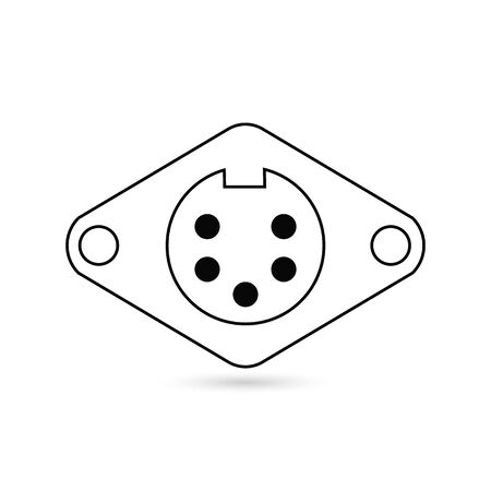 5 pin connector icon colored symbol. Premium quality isolated socket element in trendy style Illustration