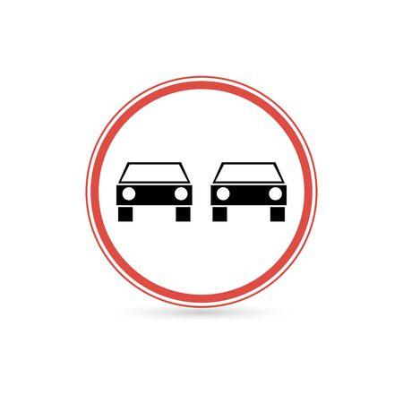 Prohibited overtaking icon. Flat illustration of prohibited overtaking vector icon for web