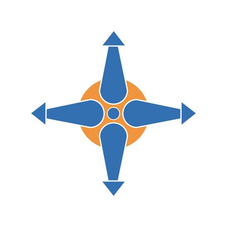Four arrows pointing to different directions from the center icon. Illustration