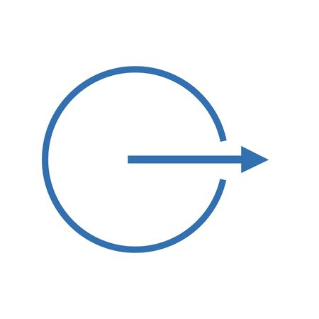 The arrow goes sideways from a circle on a white background Illustration