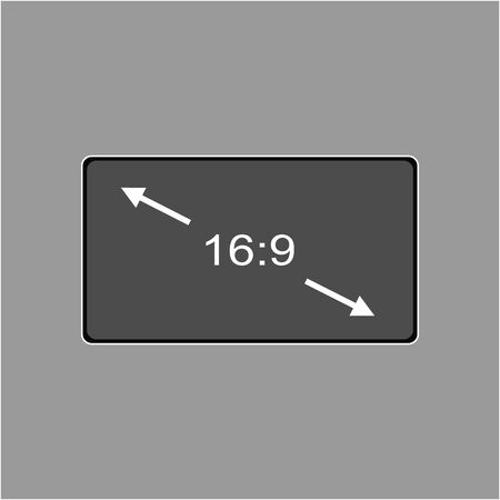 Vector icon monitor sizes 16:9. TV screen lcd monitor template electronic device technology. isolated on white background. Illustration