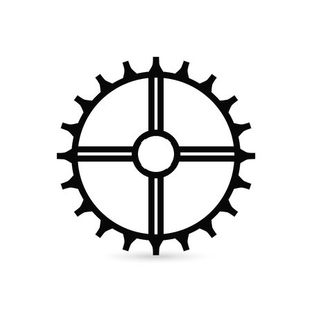 gear Icon vector. Simple flat symbol. Perfect Black pictogram illustration on white background