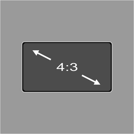 Aspect ratio 4:3 widescreen tv sign icon. Monitor symbol. Report document, information and check tick icons. Currency exchange. Illustration