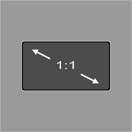 Aspect ratio 1:1 widescreen tv sign icon. Monitor symbol. Report document, information and check tick icons. Currency exchange. Illustration