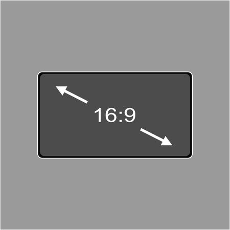 Aspect ratio 16:9 widescreen tv sign icon. Monitor symbol. Report document, information and check tick icons. Currency exchange. Illustration