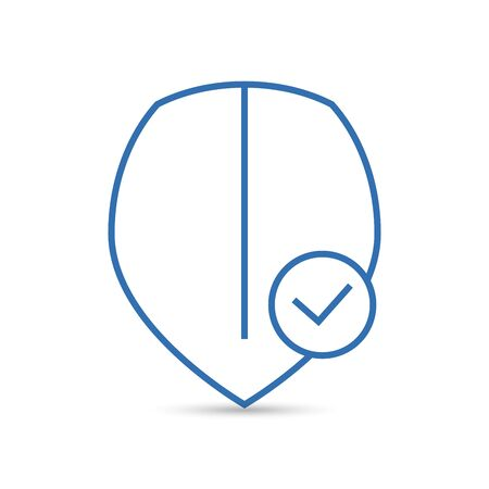 Shield with check mark line icon. Security, reliability, protection, safety concepts.
