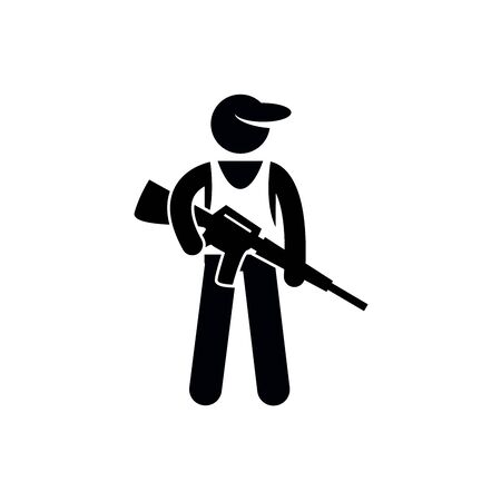 soldier people sign, man with gun stencil, vector pictogram