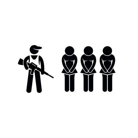 soldier people sign, man with gun stencil, vector pictogram.