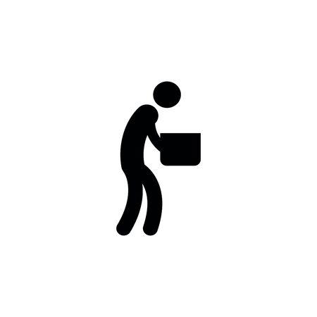 Man Moving Box Pictogram Icon Illustration design.