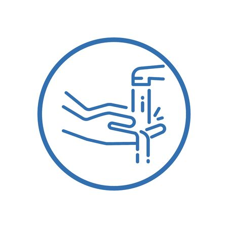 Wash hands icon, vector sign, flat style label