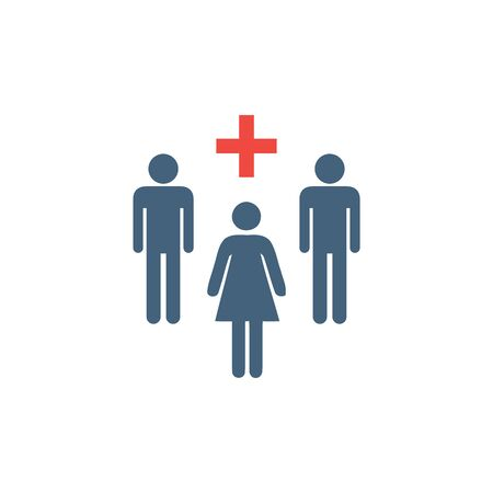 a vector icon with men inside, add group concept. Illustration