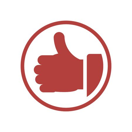 Thumb Up vector icon. Flat orange symbol. Pictogram is isolated on a white background. Designed for web and software interfaces