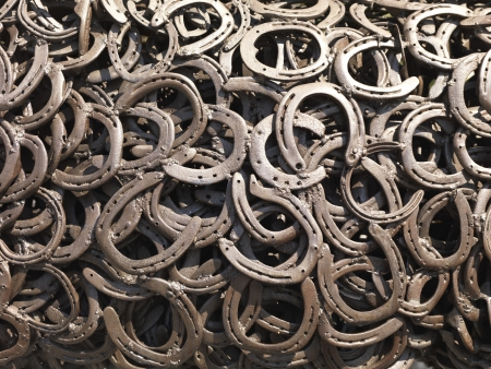 horse shoe:  a bunch of welded horseshoes for luck