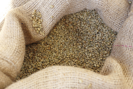 unroasted: sack of unroasted coffee Stock Photo