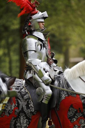 mediaeval: Harcourt, France - April 23, 2016: An unidentified man in a suit of armour is riding his horse to a mediaeval jousting tournament on Apr. 23, 2016 in Harcourt, France. It takes place in front of the castle Harcourt in Harcourt, France