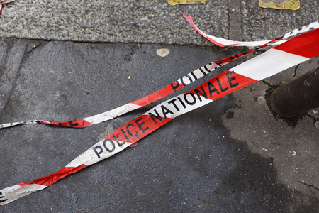 National Police barrier tape in France
