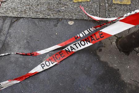 Nationale politie barrière tape in Frankrijk