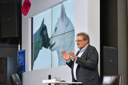 MOSCOW, RUSSIA - APRIL 24, 2018: Master class of Oliviero Toscani, an Italian photographer, best-known worldwide for designing controversial advertising campaigns for Italian brand Benetton. 에디토리얼