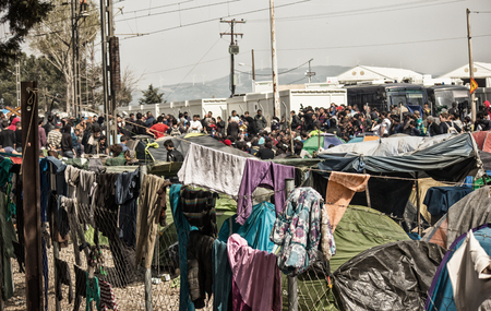 Refugees fleeing wars (mainly from Syria, Afghanistan and Iraq) living in camps in Greece, photo taken in Idomeni, in March 2016.
