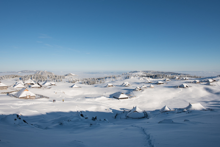 The beautiful plateau of Velika Planina, Slovenia, covered by snow. Stockfoto