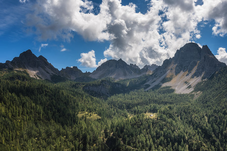 The beautiful little valley of Casera Val Binon, in the Dolomites of Friuli (Italy).