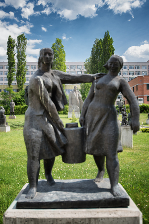 Propaganda statues in the garden of the museum of Socialist Art in Sofia, Bulgaria. Stockfoto