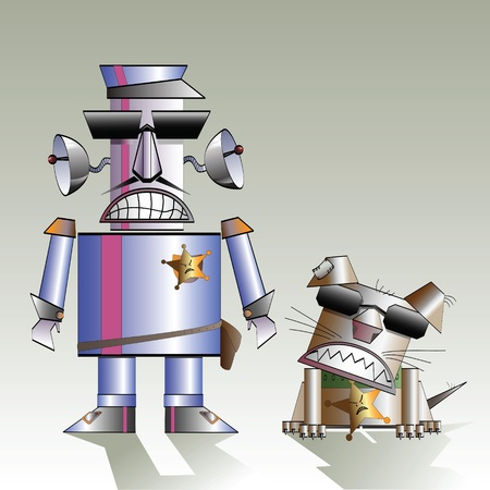 Robot policeman and his dog, a caricature