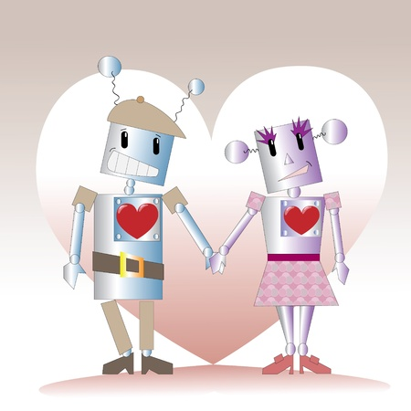 Two robots in love, caricature