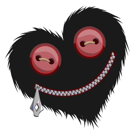 black hairy heart with toggles in place of eyes