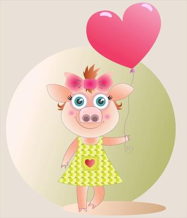 A pig-girl with a balloon