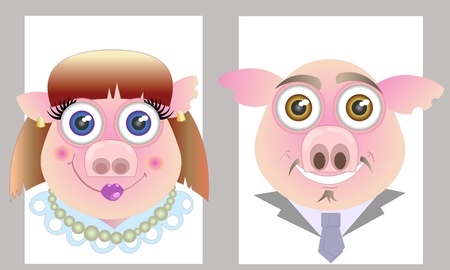 Caricature of a family of two pigs Stock Vector - 12954321