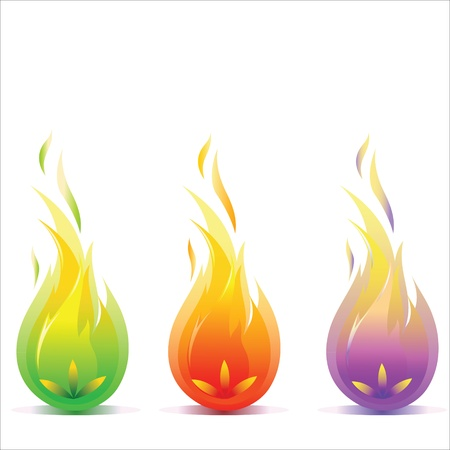 flame logo: Stylized fire in three colors Illustration