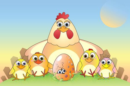 Cartoon chickens and eggs, illustration, postcard Vector