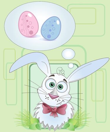 Easter Bunny with Easter eggs, postcard Illustration