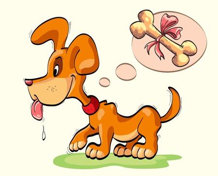 pequeño perro con el hueso ató un lazo Ilustración de vector