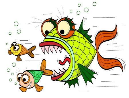 toothed: angry toothed fish chasing small fish Illustration