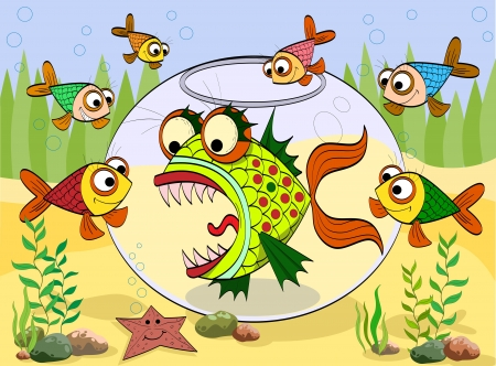 scary fish in an aquarium at the seabed, the little fish swim around, illustration Illustration